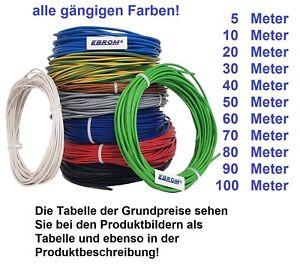 Aderleitung Litze PVC Kabel H07V-K 1,5 mm² flexibel oder H07V-U 1,5 mm2 starr