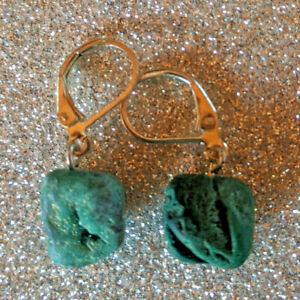Green titanium coated quartz druzy drop earrings silver leverback new handmade