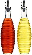 oil vinegar bottle glass dispenser ribbed 2pc set home basics glass 20oz 570ml