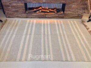 Natural Cream Grey Striped Eco Recycled Cotton Jute Washable Area Rugs Runner