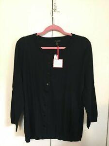 Talbots Charming Cardigan Sweater XL NWT Black 3/4 Slv Classic Cotton Blend