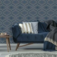 Art Deco Wallpaper Retro Vintage Embossed Glitter Nuevo Navy Grandeco