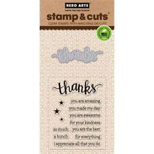 Thanks Hero Arts Clear Stamp & Cut Thin Metal Die Set DC152 NEW!