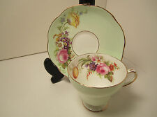 FOLEY ENG CHINA TEA CUP & SAUCER LIGHT GREEN WITH GORGEOUS FLORAL BOUQUET