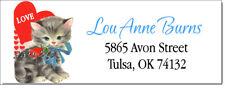 Vintage Valentine Kitty Cat Design 2 Return Address Labels Glossy Or Matte