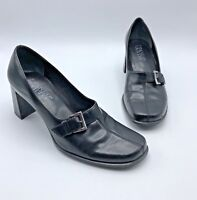 Franco Sarto Women Black Slip On Heel Shoe Buckle Accent Size 9M Pre Owned