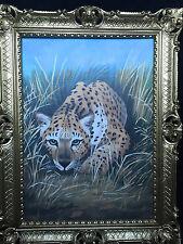 Bild Leopard 90x70 Pferd Gemälde Wilde Tiere Afrika Barock Wandbild Leoparden