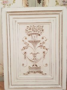 GORGEOUS LARGE ANTIQUE FRENCH SHABBY CHIC CARVED WALNUT PANEL - C1900