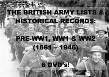 COMPLETE BRITISH ARMY LISTS - 6 DVD - WORLD WAR REGISTERS WW1 WW2 HISTORY MEDAL