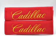 Embroidery Yellow on Red Soft Seat Belt Cover Shoulder Pads Pairs For Cadillac