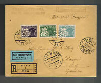 1935 Vienna Austria Registered airmail Cover to Czechoslovakia