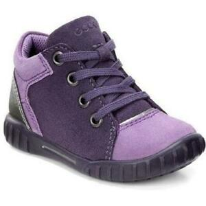 ECCO MIMIC GIRLS PURPLE BABY INFANT KIDS CHILDRENS LEATHR SUEDE LACE BOOT