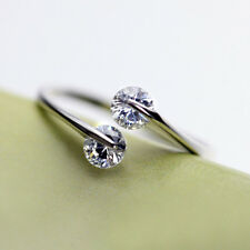 New & Fashion Women 925 Silver Plated Crystal Bridal Engagement Ring Adjustable