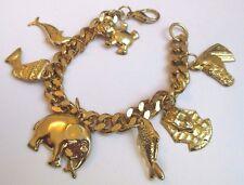 Joli bracelet bijou vintage couleur or gourmette pampille Egypte éléphant 3357