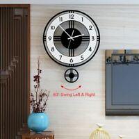 Pendulum Wall Clock Silent Modern Design Battery Operated Quartz Hanging Watches