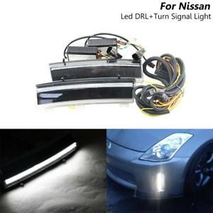 Led Front Bumper Reflector DRL Fog Light For Nissan LCI 350Z 06-09 Turn Signal