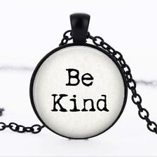 Be Kind Pendant Black Glass Cabochon Necklace chain Pendant Wholesale