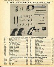 1968 Print Ad of Ruger Single-Six & Blackhawk Revolver Parts List
