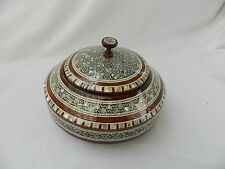 "Egyptian Large Mother of Pearl Inlaid Round Wood Handmade Box 7"" Diameter #215"