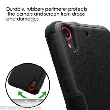 HTC Desire 555 530 626S 650 Shockproof HYBRID Rubber Protective Case Cover BLACK