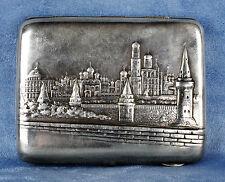 Majestic Antigüedad 1900s Ruso Ciudad De Moscú Plata Ley Cigarrillo Funda Caja