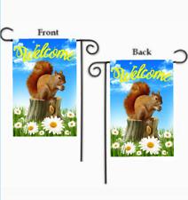 "SQUIRREL ON TREE STUMP with DAISIES FLOWERS SUMMER YARD GARDEN FLAG 12"" X 18"""