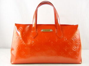 US seller Authentic LOUIS VUITTON VERNIS WILSHIRE PM HAND BAG LV RED usable+