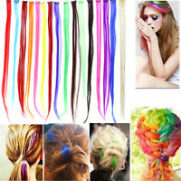 """1pc 20"""" Party Colorful Highlights Clip in on Hair Extensions Synthetic 16 Colors"""