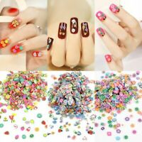 1000pcs 3D Fruit Animals Fimo Slice Clay DIY Nail Art Tips Sticker Decoration US