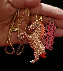 """Betsey Johnson Pink Rhinestone Unicorn Horse 30"""" Necklace  ***NWT***"""