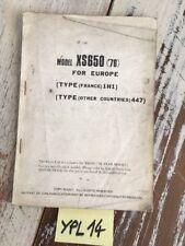 Yamaha XS650 1976 1H1 447 XS 650 additif catalogue pièce détachée parts list