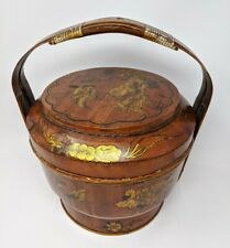 Antique Chinese Wedding Basket Lacquered w/ Gilt Ornately Hand Painted Signed