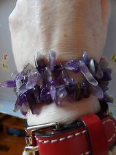PAIR OF GENUINE AMETHYST SPIKY TUMBLED BEADS STRETCH BRACELETS         561-7