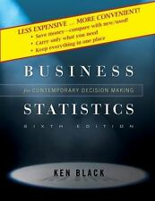 Business Statistics Contemporary Decision Making by Ken Black 2009 Hardcover B1