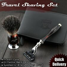 TRAVEL SHAVING KIT Triple Edge Razor & Synthetic Brush + Leather Case for HIM