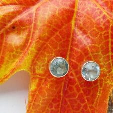 Blautopas, rund, blau, schlicht, Ohrringe, Ohrstecker, 925 Sterling Silber neu