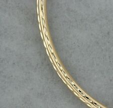 14k Yellow Gold Bangle with Sparkling Detail 7.8 inch Bracelet. Hollow. Gift