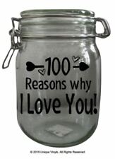 100 reasons why I Love You sticker, add to your own Jar/Tin - Sticker only