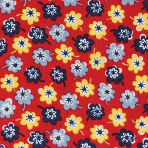 """1 Yard Vintage Feedsack Reproduction Fabric 42"""" Wide x 36"""" Red Yellow Floral"""