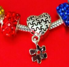 Autism Awareness Jigsaw Puzzle Love Heart Dangle Bead Charm Bracelet Jewellery