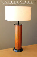 STYLISH! MID CENTURY DANISH MODERN WOOD TABLE LAMP! GOOD DESIGN! VTG 50'S 60'S