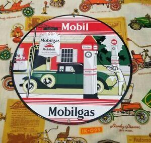 VINTAGE MOBIL MOBILGAS PORCELAIN GARGOYLE GAS OIL FILLING STATION SERVICE SIGN