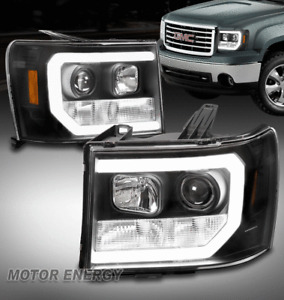 For 07-13 GMC Sierra 1500 2500 3500 LED Tube Projector Headlight Headlamp Black