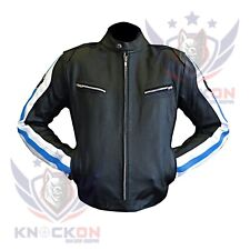 MOTO JACKET MEN BMW 3874 Sky Blue Genuine Cowhide Armour Leather Motorcycle Gear