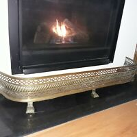 English Antique Bronze Fireplace Fender/ Lion Paw Feet