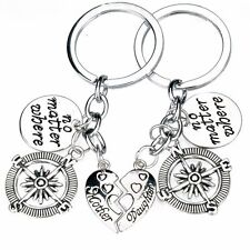 2 PIECE MOTHER DAUGHTER KEY CHAIN CHARM COMPASS NO MATTER WHERE KEY RING #KC50