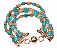 """Bronzo Rose color bronze beads and Turquoise multi strand Bracelet 6-3/4""""L"""