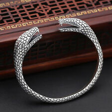 Men's Real 925 Sterling Silver Cuff Bracelet Two Heads Snake Jewelry