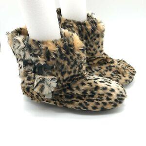 Womens Bootie Slippers Faux Fur Pom Leopard Print Slip On Brown Beige Size 5/6