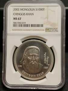 2002 MONGOLIA Conqueror Genghis Kahn Genuine Silver 1000 Togrog Coin
